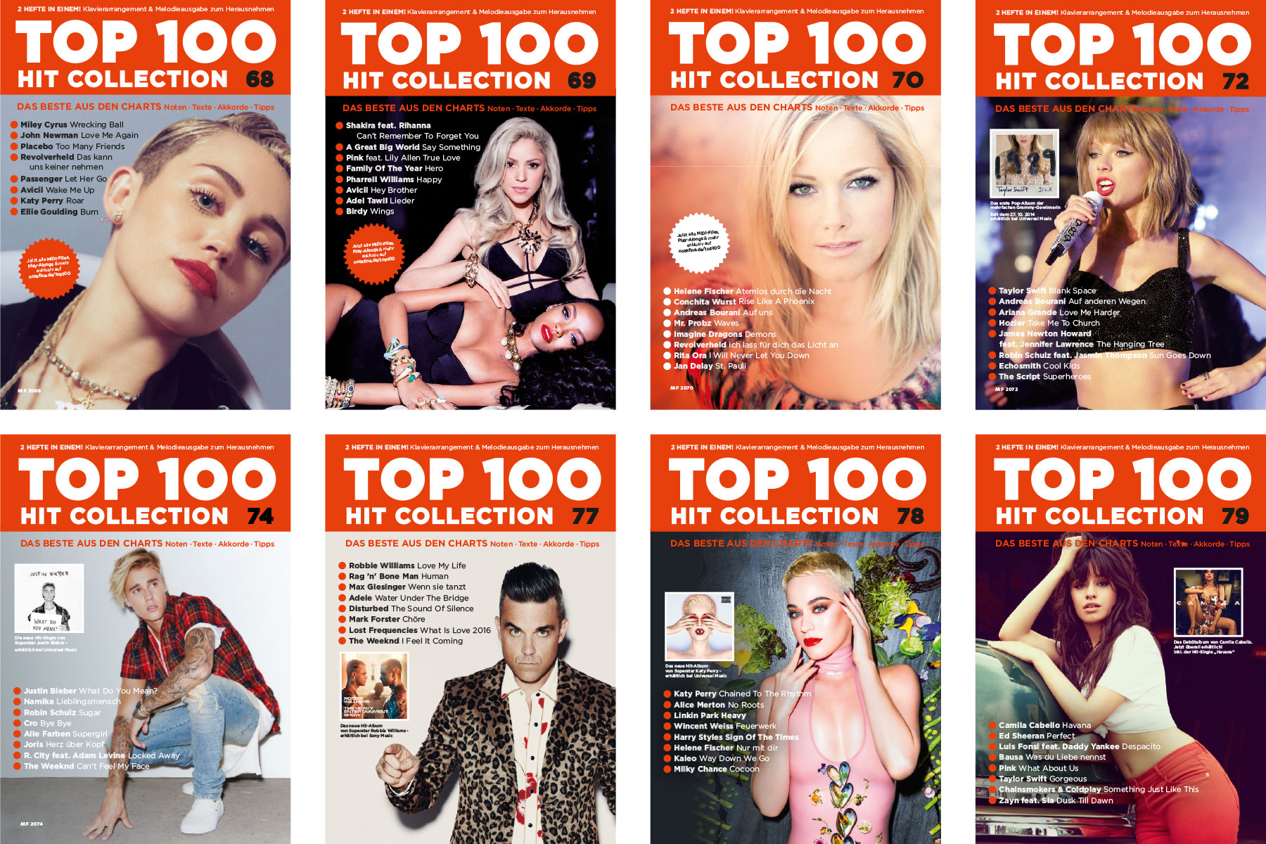 Art Direktion, Coverdesign und Satz der Magazinreihe TOP 100 Hit Collection im auftrag des SCHOTT Verlags, Mainz